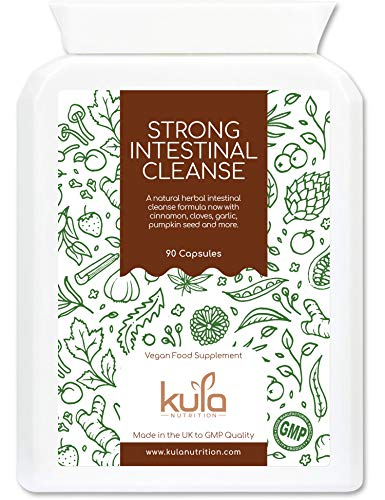 Kula Nutrition - Strong Herbal Intestinal Cleanse - 90 Capsules - Natural Digestive Herbal Detox Food Supplement with Magnesium Caprylate, Cinnamon, Cloves, Shiitake Mushroom, Garlic and Pumpkin Seed.