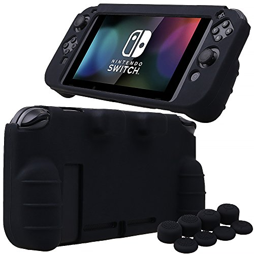 MXRC Silicone Rubber Cover Skin case Anti-Slip Hand Grip Customize for Nintendo Switch x 1(Black) + Joycon Thumb Grips x 8