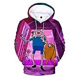 MUDIYOU Adventure Time Sudadera con Capucha Estampada en 3D Cuello Redondo Camisa Deportiva de Manga Larga para Hombres y Mujeres Regalos Casuales de Dibujos Animados -XXXL