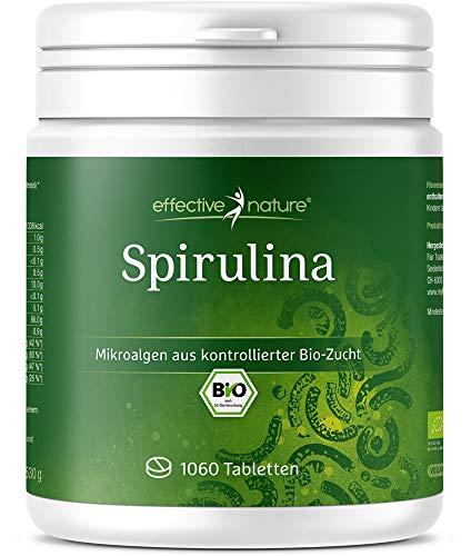 Bio Spirulina Tabletten (1060 Stück) | 500mg hochdosiert | 100{9ee4880d5811c65fa2f57e28128d0bfbba144143f827aabf1e9181ee925a436b} Rein | Vegane Presslinge | OHNE Magnesiumstearat | Abgefüllt und kontrolliert in Deutschland (DE-ÖKO-006)