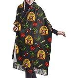 Elaine-Shop Chimenea y Muérdago Envoltura de mantón Bufanda cálida de invierno Cape Cashmere Scarf Wrap