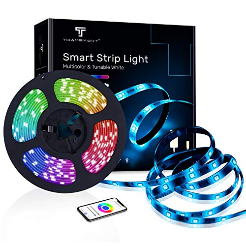 Smart Strip Light, Multi Color Dimmable LED Rode Light That Work with Alexa, Google Home (NO Hub Required), RGBCCT 5M