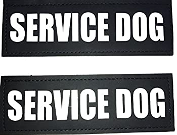 ALBCORP Reflective Service Dog Patch with Hook Backing for Service Animal Vests/Harnesses Medium  5 X 1.5  Inch