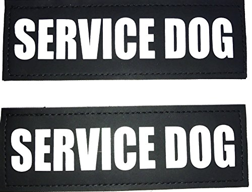 Albcorp Reflective Service Dog Patches with Hook Backing for Service Animal Vests /Harnesses Large (6 X 2) Inch