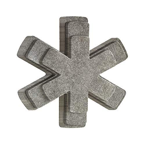 Gryt- och pannskydd, set med 12 grytdelare dyna, halkskydd panna separatorer dynor för att skydda separatordynor, köksredskap, kastrull, kastruller och kastruller Grå