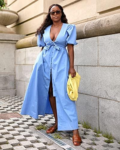 The Drop Women's Cornflower Blue Puff-Sleeve Front-Bow Button-Down Maxi Dress by @highlowluxxe