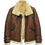 Men's Shearling Jacket B3 Flight Jacket Fur Leather Jacket Imported Wool from Australia Men's Sheepskin Aviator Coat (L, Brown)