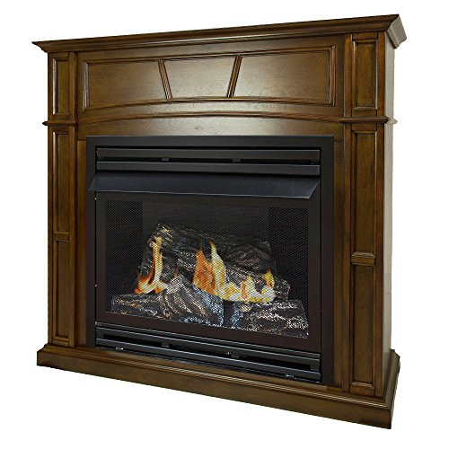 Pleasant Hearth 46 Full Size Natural Gas Vent Free Fireplace System 32,000 BTU, Rich Heritage