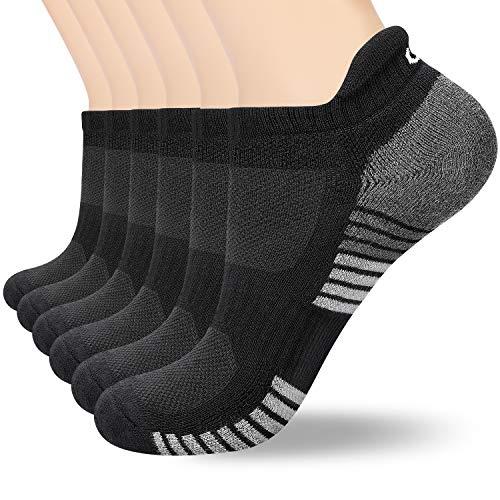 coskefy 6 Paar Sneaker Socken Herren Damen Gepolsterte Laufsocken 35-50 Schwarz Weiß Grau Baumwolle Sportsocken Atmungsaktiv (Schwarz-4(6 Paare), M(39-42))