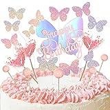 Ulikey Papillon Décoration Gâteau, 19 Pièces Happy Birthday Gâteau Toppers Décoration à Paillettes Gâteau Forme de Cœur Papillons Arc-en-ciel Kit Decoration Gâteau Anniversaire en Forme de Cœur (Rose)