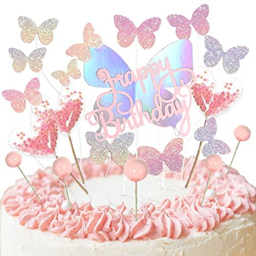 Ulikey Kuchen Topper Set, 19 Stücke Kuchendeckel Topper Tortendeko Kuchenfahne Happy Birthday Kuchendeckel Schmetterlinge Glitter Cake Geburtstag Heart Party Kuchendekoration (RosaA)
