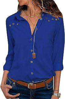 13928b4381 G-Anica Chemise Femme Chemisier Mousseline de Soie Boutonné T-Shirt Tunique  Femme Chic