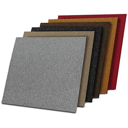 1 m² Teppichfliesen selbstliegend Lyon für Büro & Gewerbe - Fliesen Teppiche je 50x50 cm - robuster Teppichboden - Bodenfliesen mit rutschhemmendem Vinyl-Rücken (Rot, 4 Stück)
