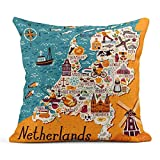Almohada de Tiro Amsterdam Mapa de Países Bajos Viajes Lugares de interés holandés Personas Comida Tradicional de Holanda Cojín de Lino de Dibujos Animados Almohada Decorativa para el hogar