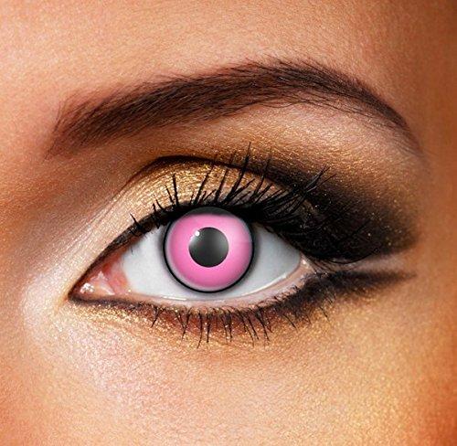 Funky Vision Kontaktlinsen - 12 Monatslinsen, Pink Eye, Ohne Sehstärke, 1 Stück