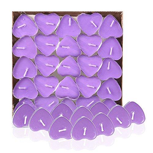 Qinlee 50 Stück Teelicht Herzform Set Romantische Herz Kerzen (Lila)