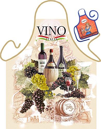 Wein Motiv Kochschürze Italien italienischer Wein Schürze : Vino-Trauben -- Themenschürze mit Minischürze für Flaschen