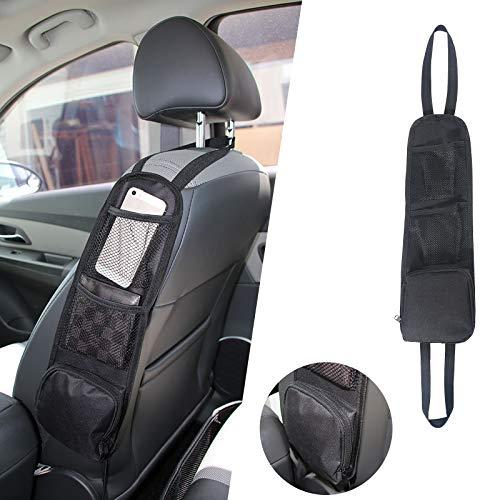 URAQT Auto Organizer, Autositz-Seitenorganisator, Faltbare Auto Aufbewahrungstasche Netztaschen, Multifunktionale Autositz Aufhängetasche mit Mehreren Taschen für LKW, Van, SUV (Schwarz)