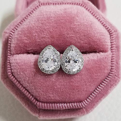 HUYV Stud Earrings For Woman,Fashion White Water Drop Crystal Inlaid Zircon Earrings 925 Silver Stud Earrings For Christmas Birthday Jewelry Gift Men Girls