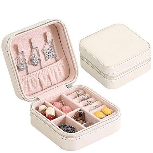 Pequeña caja de joyería organizadora para viajes, hogar, mujeres, niñas, caja de regalo para pendientes, anillos, collares