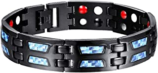 Carbon Blue Titanium Magnetic Therapy Bracelet, Pain Relief for Arthritis and Carpal Tunnel, Adjustable Length with, for M...