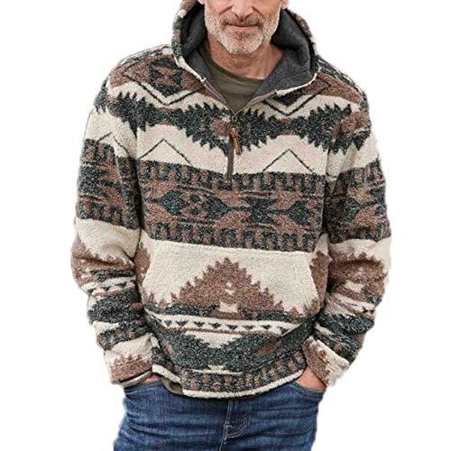 Hombres Estilo étnico Polar Polar pulóver Sudadera Chaqueta Cuello Alto cálido Cuarto de Cremallera Prendas de Vestir suéter Abrigo
