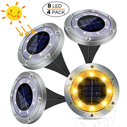 Luces Solares Exterior Jardin 8LED 4pcs 100LM, Impermeable