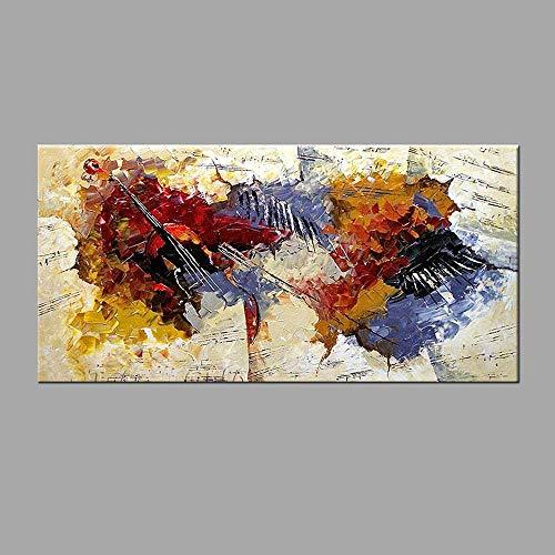Pinturas al óleo, arte de pared con música moderna, 100% pintado a mano, instrumentos musicales contemporáneos, pinturas al óleo abstractas sobre lienzo, arte de pared para sala de estar,50x100cm