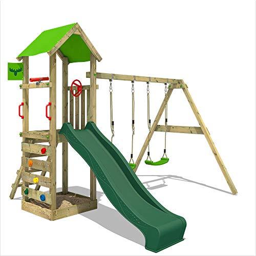 FATMOOSE Parque infantil de madera KiwiKey Kick XXL con columpio SuperSwing y tobogán verde, Torre de escalada da exterior con arenero y escalera para niños
