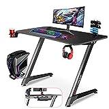 Gaming Desk - Dripex PC Gamer Table Z Shaped 43 Inch Mesa Gamer's Ergonomic Desk Carbon Fiber Surface for Home Dorm