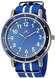 U.S. Polo Assn. Reloj de cuarzo para hombre de acero inoxidable con correa de nailon, azul, 24 (modelo: US7008)