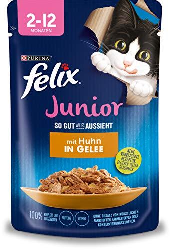 Felix Katzennassfutter So gut wie es aussieht in Gelee Junior mit Huhn 24x 85 g Portionsbeutel