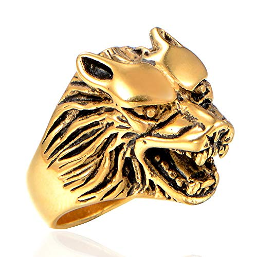 TYJKL Punk Ring Men's Motorcycle Ring Domineering Wolf Head Ring Men's Personality Ring Perfect For Any Gift Giving Occasion (Color : Gold, Size : 7)