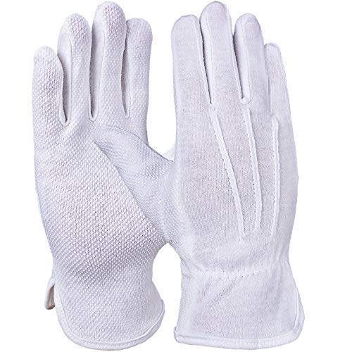 Pro Fit 12 Paar Microdot-Trikot-Handschuh, reinweiß, Punktbenoppung, gesaumt