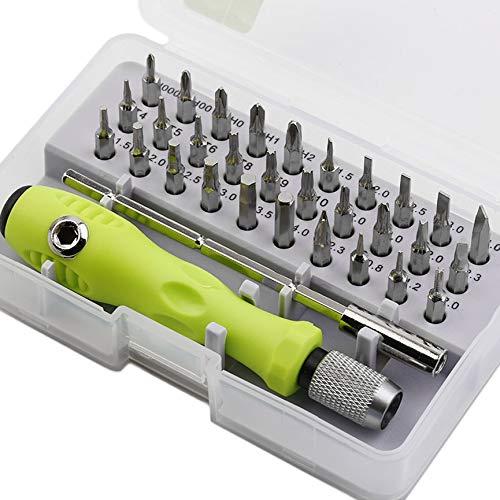 Práctico juego de destornilladores de precisión multipropósito 32 en 1, kit de herramientas de reparación electrónica para teléfono celular, tableta, portátil