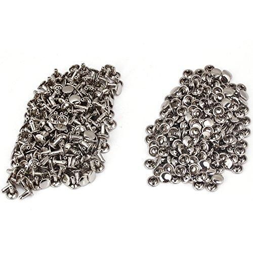 Yibuy Doppelseitige Flachnieten 8 x 9 mm Punk-Nieten, 200 Stück