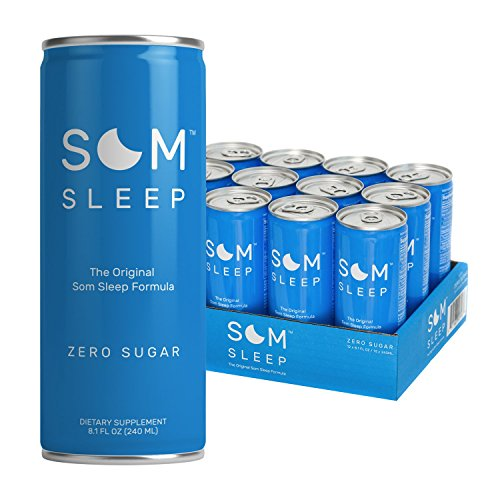 Som Sleep, The Original Sleep Support Formula w/ Melatonin, Magnesium, Vitamin B6, L-Theanine & GABA – Non-GMO, Vegan, Gluten-Free Sleep Aid Drink Supplement – Zero Sugar, 8.1 Fl Oz, 12-Pack