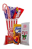 Movie Night Gift Baskets For Christmas- Popcorn, Hot Chocolate, Cookies, Candy Cane, And Movie Theater Candy Gift Basket - Movie Snacks Care Package, Date Night or Family Night Gift