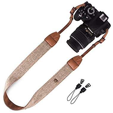 Wolven Canvas DSLR/SLR Camera Neck Shoulder Belt Strap for Nikon/Canon/Sony/Samsung/Pentax/Olympus/Leica/Fujifilm Instax Etc,Brown
