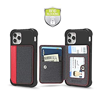 Cell Phone Wallet for Back of Phone Stick On Wallet Credit Card ID Holder with RFID Protection Compatible with iPhone Galaxy & Most Smartphones and Cases