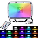 20W RGB Luces de Inundación del LED con Función de Memoria 16 Colores 4 Modos Focos IP66 Iluminación Exterior para Jardín, Paisaje, Escenario