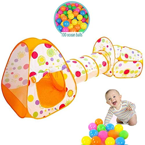 luckycao Kids Play Tent Ocean Ball Pool Creeping tunnel 3-piece set,Indoor Outdoor Girls/Boys Tent Play Tent Game house