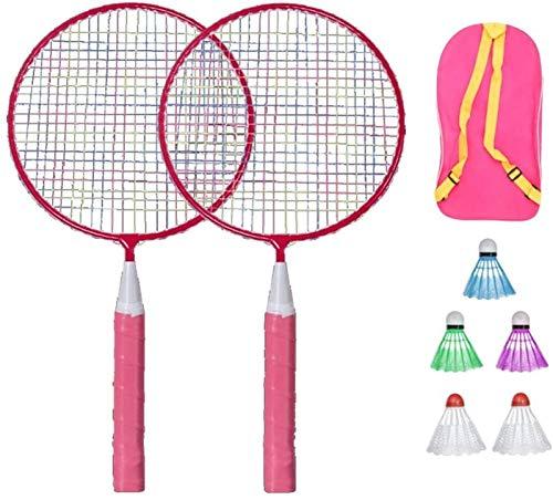 RENFEIYUAN Kinder Badminton Set Ball Badmintonschläger Set Kinder Spiel Spiel Spielzeug mit DREI Kugeln und Aufbewahrungstasche Rosa Badminton Sets (Color : Pink)
