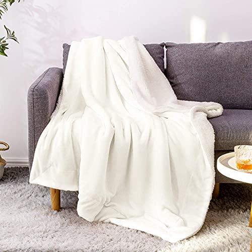 BEDELITE Sherpa Fleece Throw Blankets White Throw Blanket for Couch & Bed, 480GSM Super Soft Plush Microfiber Fuzzy Blanket, Velvet Plush/Wool Like Warm Spring Throw Blanket