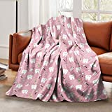 LELEMATE Ultra-Soft Flannel Blanket Pink Happy Teeth Dentist Throw Blankets Warm Fuzzy Plush Blanket for Boys Girls Bed Blanket for Crib Couch Chair Living Room Home Travel 50'X40' for Kids Baby