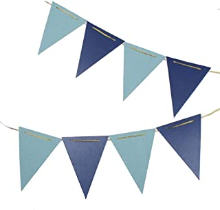 ZOOYOO 10 Feet Glitter Pennant Banner, Paper Triangle Flags Bunting for Baby Birthday Party, Wedding Decor, Baby Shower, 15pcs Flags, Pack of 2 (Blue/Light Blue)