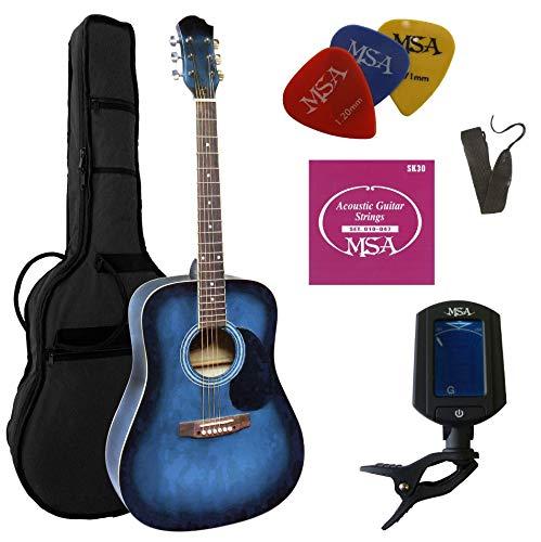 4/4 Gitarre - WESTERNGITARRE IM Set - AKUSTIK - BLAU-SCHATTIERT - Decke FICHTE FUNIERT - Tasche - Band - Saiten - 3xPIK - STIMMGERÄT ET33B - CW185