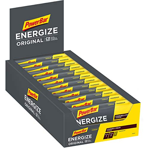 Powerbar Energize Original Cookies & Cream 25x55g-Barra de Alta Energía de Carbono + C2MAX Magnesio y Sodio, 25 x 55g