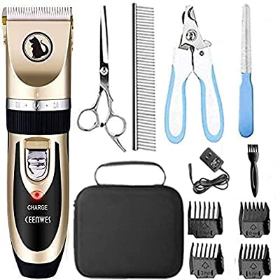 Ceenwes Dog Clippers Low Noise Pet Clippers Rechargeable Dog Trimmer Cordless Pet Grooming Tool Professional Dog Hair Trimmer with Comb Guides Scissors Nail Kits for Dogs Cats & Other(Gold) from Ceenwes