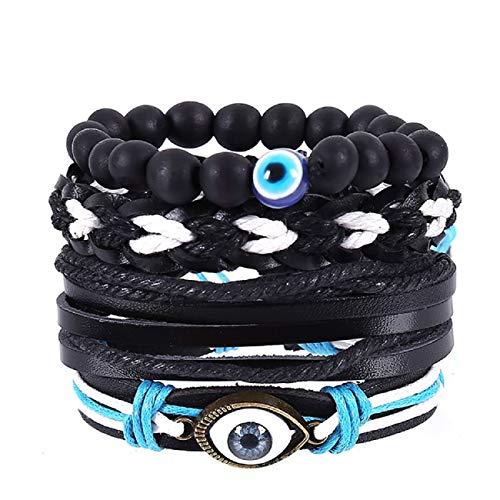 Armband, Barlingrock Multi-Layer Leder Armband Perlen Wrap für Frauen Mädchen Geflochtenes Armband Vintage Handgewebte Armband Schmuck